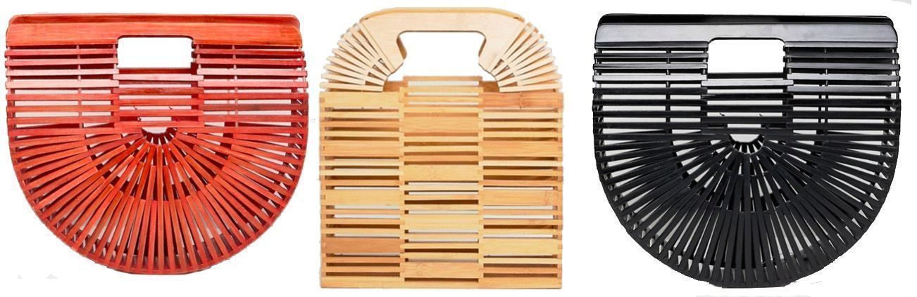 bolso cesta de bambú